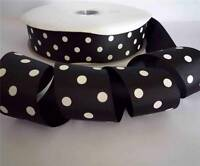 "1-1/2"" 38mm Black White Polka Dots Grosgrain Ribbon 5 Yards Craft For Hairbow"