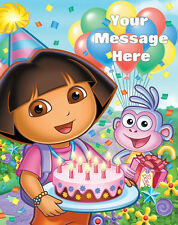 DORA PERSONALISED EDIBLE ICING CUSTOM PARTY CAKE DECORATION TOPPER IMAGE 7x10