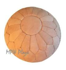 MPW Plaza Pouf, Retro Shell, Sand, Moroccan Leather Ottoman (Stuffed)