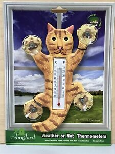 """Songbird Essentials 5"""" Climbing Cat Window Thermometer Hand Carved & Painted"""