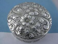 Sterling DOMINICK & HAFF Pill / Trinket Box ornate Floral Repousse