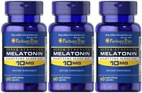 Puritan's Pride Melatonin 10 mg Night Time Sleep Aid 180 Capsules MADE IN USA