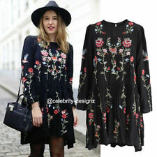 Long Sleeve Floral Dresses for Women with Embroidered