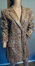 Rena Lange Snake Python Print Shiny Patent Leather Jacket US 12