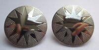 boucles d'oreilles clips bijou vintage déco gravé couleur argent earing  1780