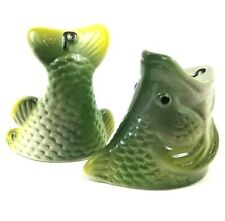 "Vtg Rivers Edge Salt & Pepper Shaker Set, Bass Fish Out Of Water 3"" Ceramic Set"