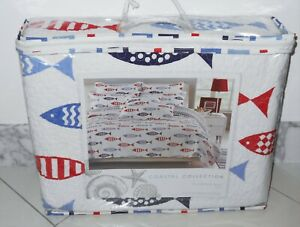 New Coastal Collection FISH Nautical Beach Cotton Reversible Full Queen Quilt