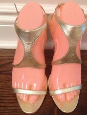 Women's Manolo Blahnik Gold Tone Strappy Sandals Size 40- Made In Italy
