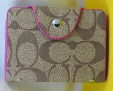 New PU Leather Credit Card Holder Organizer ID Holder-Brown/Fuchsia
