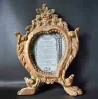 Antique French 18th C Hand Carved Gilt Wood Photo Picture Frame