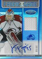 2012-13 Certified Fabric of Game Blue Jean-Sebastien Giguere Auto Jersey/50
