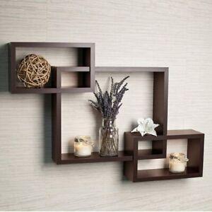 Intersect wall shelf, wooden wall shelf set of 3 (Brown)