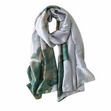 Grey Green Waterlily satin scarf