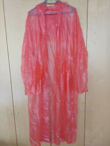 PVC Regenmantel mit Kapuze, rot, kaum getragen