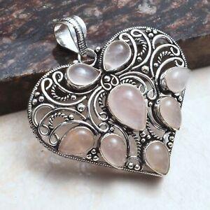 "Rose Quartz Ethnic Handmade Heart Design Pendant Jewelry 2.2"" AP 48674"