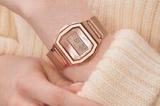 Casio 38mm Caja y Correa de Acero Inoxidable en Oro Rosa, Reloj para Mujer (A1000MPG-9EF)