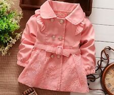 Baby Girl's Flower Button Coat - sizes fitting 1yr - 4yrs old