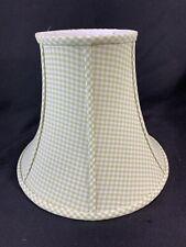 "Pottery Barn Kids Green White Gingham Fabric 10"" Bell Lamp Shade Bedroom Nursery"