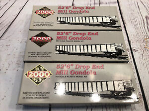 "Proto 2000 - 52'6"" P&LE #40002 Drop End Mill Gondola. Lot Of 3 New."