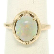 Estate 14k Solid Yellow Gold 2.00ct Prong Set Oval Cabochon Opal Solitaire Ring