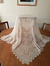 Shetland Lace Baby Christening Baptism Shawl handknitted in Rowan Fine Lace.