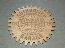Triumph TR World Authorized Garage Wood Gear Sign Man Cave Sports Car Garage Art