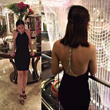 ZARA BLACK DIAMANTE CORD STRAP BACK BODYCON DRESS SIZE M