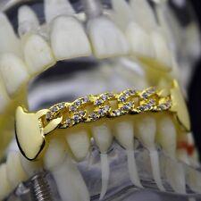 CZ Cuban Fang Grillz 14k Gold Plated Bottom Cubic Zirconia Low Fangs Bling Teeth