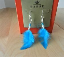 Barse Genuine SS, & Turquoise Magnasite Feather Earrings MSRP $38.00