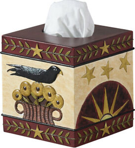 Park Designs Folk Crow Tissue Box Cover