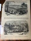 Antique 1861 Civil War Newspaper Page Ohio Regiment Camp Telegraph Station Tent