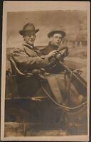Studio Real Photo Postcard RPPC Two Men Sit In Studio Prop Auto One Holds Cigar