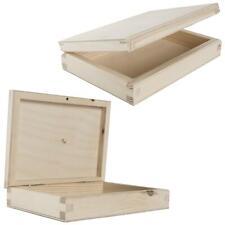Slim Flat Trinket Rectangle Wooden Box Case / Unpainted Plain Decorative Pine