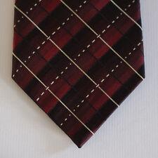 NEW Van Heusen Silk Neck Tie Burgundy Red with Mettalic Beige Stripes 1573
