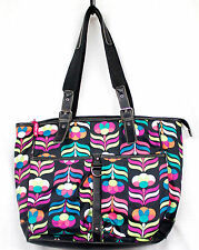 LILY BLOOM Large Black & Multicolor Flowers Tulips Tote Shopper Carry All Bag