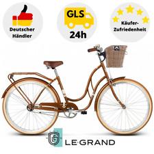 Damenrad 28 Zoll Damenfahrrad mit Weidenkorb Citybike Retro Classic Blau Braun