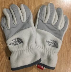 THE NORTH FACE Gloves Girls Size Medium Gray And White Fleece