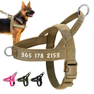 No Pull Dog Harness Personalised Pet Name ID Adjustable Front Range with Handle