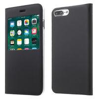 "Funda Vista Capirotazo Lámina Cuero Cover NEGRO para iPhone de Apple 7 Plus 5.5"""