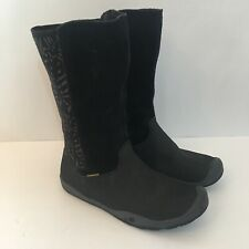 Keen Womens Size 5 Boots Waterproof Black Floral Rain Snow Suede Rubber Grey