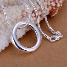 Women Fashion 925 Sterling Silver Chain Circle Necklace With Pendant Punk SA