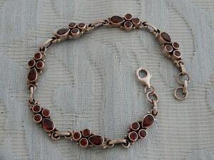 Original Vintage Sterling Silver & Red Garnet Ladies Bracelet, old estate find