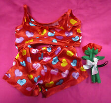 Build a Bear Workshop Red Satin Valentine PJ's with Colorful Hearts & Rose
