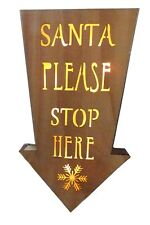 Santa Please Stop Here LED Wooden Arrow Light Up Festive Christmas Decoration