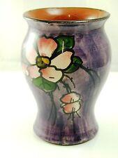 Torquay ware vase  11cm tall flower design on purple background