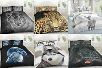 3D LUXURY ANIMAL PRINTED DUVET QUILT BEDDING COVER SET PILLOW CASES ALL SIZES