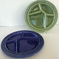 "Vintage Colored Divided Plate LOT 2 Fondue Sushi Unique 9"" Blue Green #3517"