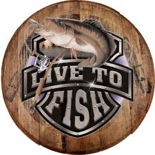 Whiskey Barrel Head Live to Fish Big Bass Jumping Out of Water Cabin Bar Sign