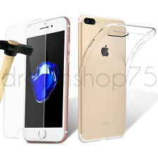 Coque Housse Etui  iphone 5 5s 6 6s 7 7 Plus silicone tpu + FILM EN VERRE TREMPÉ