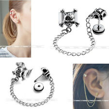 Punk Stainless Steel Screwed Stud Skull Clip On Ear Cuff Cartilage Chain Earring